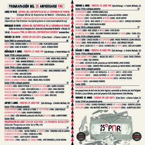 Programación del Ciclo 25º Aniversario PNR